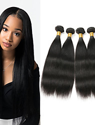 cheap -4 Bundles Brazilian Hair Straight Virgin Human Hair Natural Black Human Hair Weaves / Hair Bulk 8-26 inch 200g Human Hair Extensions for Women