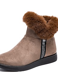 cheap -Women's Boots Flat Heel Round Toe Pom-pom Suede Booties / Ankle Boots Casual / Minimalism Winter Black / Brown / Red