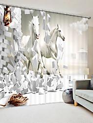 cheap -Three Dimensional White Horse Digital Printing 3D Curtain Shading Curtain High Precision Black Silk Fabric High Quality Curtain