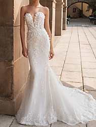 cheap -Mermaid / Trumpet Sweetheart Neckline Court Train Lace Strapless Mordern Sparkle & Shine Wedding Dresses with Appliques 2020