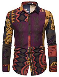 cheap -Men's Plus Size Color Block Shirt Street chic Daily Work Classic Collar Rainbow / Long Sleeve