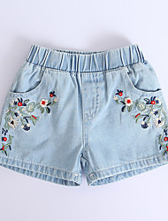 cheap -Kids Toddler Girls' Basic Floral Shorts Light Blue