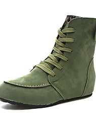 cheap -Women's Boots Flat Heel Pointed Toe Faux Leather Booties / Ankle Boots Fall & Winter Black / Green / Red / Party & Evening