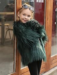 abordables -Enfants Fille Chic de Rue Couleur Pleine Veste & Manteau Noir