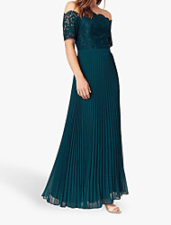 cheap -A-Line Off Shoulder Floor Length Polyester Short Sleeve Elegant & Luxurious Mother of the Bride Dress with Appliques / Ruching 2020
