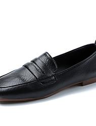 cheap -Women's Flats Flat Heel Square Toe Ribbon Tie PU Casual Walking Shoes Fall & Winter Black / White