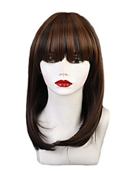cheap -Synthetic Wig Ombre Matte Natural Straight Avril With Bangs Wig Ombre Medium Length Light Brown / Auburn Synthetic Hair 14 inch Women's Synthetic New Fashion Brown Ombre EMMOR / African American Wig