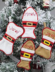 cheap -2pcs Christmas Small Sock Candy Gift Holder Christmas Tree Decoration Brown White Bone Fish