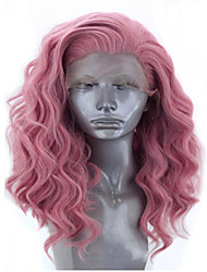 cheap -Synthetic Lace Front Wig Wavy Side Part Lace Front Wig Short Pink+Red Synthetic Hair 12-16 inch Women's Adjustable Heat Resistant Party Pink