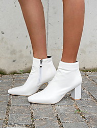 cheap -Women's Boots Chunky Heel Square Toe PU Booties / Ankle Boots Winter Black / White