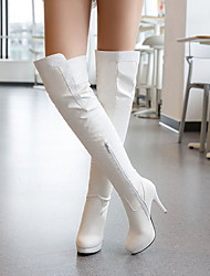 cheap -Women's Boots Knee High Boots Stiletto Heel Round Toe PU Knee High Boots Fall & Winter Black / White