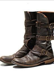 cheap -Women's Boots Fall & Winter Flat Heel Round Toe Daily PU Mid-Calf Boots Black / Blue / Brown