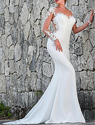 cheap -Mermaid / Trumpet Wedding Dresses Jewel Neck Sweep / Brush Train Polyester Long Sleeve Sexy Backless Illusion Sleeve with Lace 2021