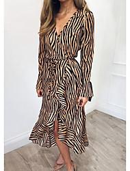 cheap -Women's Elegant Sheath Dress - Striped Print White Gray Khaki S M L XL