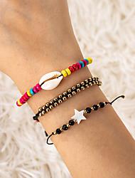 cheap -3pcs Women's Bead Bracelet Vintage Bracelet Earrings / Bracelet Braided Star Shell Ethnic Fashion Cute Boho Colorful Cord Bracelet Jewelry Rainbow For Gift Daily Holiday Festival / Loom Bracelet