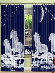 cheap -Moonlight White Horse Digital Printing 3D Curtain Shading Curtain High Precision Black Silk Fabric High Quality Curtain