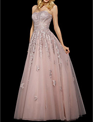 cheap -A-Line Elegant Prom Formal Evening Dress Sweetheart Neckline Sleeveless Floor Length Tulle with Appliques 2020