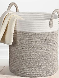 cheap -Woven Storage Baskets Decorative Blanket Basket, Use for Sofa Throws, Pillows, Towels, Toys or Nursery   Cotton Rope Organizer   Coiled Round White Laundry Hamper with Handles
