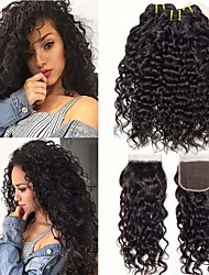 cheap -3 Bundles with Closure Brazilian Hair Water Wave Virgin Human Hair 100% Remy Hair Weave Bundles Headpiece Natural Color Hair Weaves / Hair Bulk Extension 8-28 inch Natural Color Human Hair Weaves