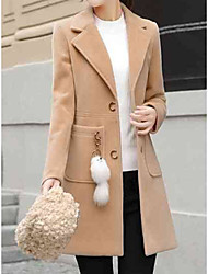 cheap -Women's Daily / Work Street chic Fall & Winter Long Coat, Solid Colored Turndown Long Sleeve Wool / Acrylic / Polyester Blushing Pink / Beige / Khaki