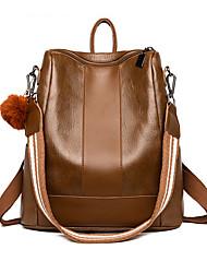 Недорогие -Большая вместимость Кожа PU Полиэстер Молнии рюкзак Сплошной цвет Повседневные Черный / Коричневый / Наступила зима
