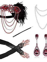 cheap -The Great Gatsby Vintage 1920s The Great Gatsby Gloves Necklace Flapper Headband Women's Feather Costume Necklace Earrings Green / Red / Blue Vintage Cosplay Festival / Headwear / Headwear