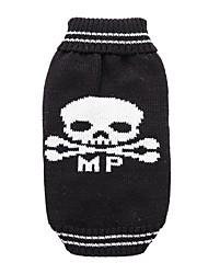 cheap -Dogs Sweater Winter Dog Clothes Black Costume Corgi Beagle Shiba Inu Acrylic Fibers Skull Halloween XS S M L XL