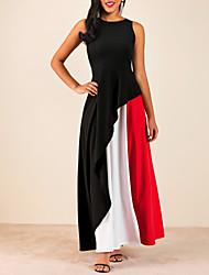 Недорогие -Жен. Большие размеры Тонкие Оболочка Платье - Контрастных цветов Макси