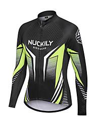 abordables -Nuckily Homme Maillot Velo Cyclisme Vélo Vêtements de moto Polaire d'hiver Chaud Des sports Rayure Toison Elasthanne Hiver Vert / noir. VTT Vélo tout terrain Vêtement Tenue Standard Tenues de Cyclisme