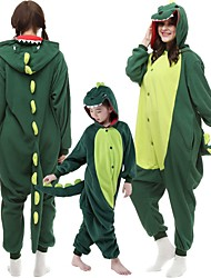 cheap -Kid's Adults' Kigurumi Pajamas Dinosaur Monster Onesie Pajamas Flannel Dark Green / Red Cosplay For Men and Women Animal Sleepwear Cartoon Festival / Holiday Costumes / Leotard / Onesie