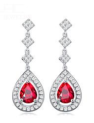 abordables -goutte d'eau boucles d'oreilles rubis pour les femmes à la mode boucles d'oreilles tempérament femelle argent 925 beaux bijoux cadeau de fête
