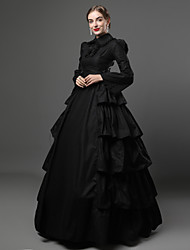 cheap -Ruffle Victorian Medieval 18th Century Flapper Dress Dress Party Costume Masquerade Women's Sequin Satin Cotton Costume Black Vintage Cosplay Party Prom Long Sleeve Floor Length Long Length Ball Gown