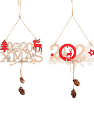 cheap -2020 Christmas Wooden Ornament Christmas Decoration Hanging New Year  3D