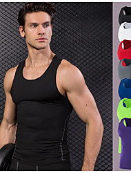 cheap -YUERLIAN Men's Running Base Layer Compression Tank Top Athletic Summer Elastane Quick Dry Anatomic Design Stretchy Exercise & Fitness Racing Basketball Running Sportswear Solid Colored Plus Size Tank