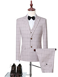 cheap -Sky Blue / Yellow Checkered Slim Fit Polyester Suit - Peak Single Breasted Two-buttons