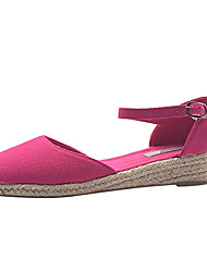 cheap -Women's Flats Wedge Heel Round Toe Buckle Canvas Casual Walking Shoes Spring &  Fall Purple / Fuchsia / Beige