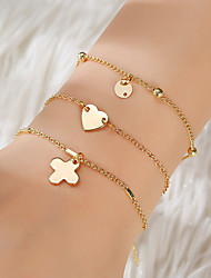 cheap -3pcs Women's Vintage Bracelet Earrings / Bracelet Pendant Bracelet Layered Heart Clover Simple Classic Trendy Fashion Cute Alloy Bracelet Jewelry Gold For Gift Daily School Holiday Festival