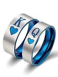 Недорогие -Для пары Кольцо 2pcs Синий Титан Массивный Классика европейский Свадьба Обручение Бижутерия Буквы