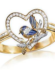 cheap -Women's Ring 1pc Gold Rhinestone Alloy irregular Classic Fashion Cute Gift Daily Jewelry Classic Bird Heart