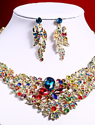 cheap -Women's Clear Blue Red AAA Cubic Zirconia Collar Necklace Chandelier Fashion Elegant Rhinestone Earrings Jewelry Rainbow / Transparent / White For Wedding Engagement Holiday 1 set
