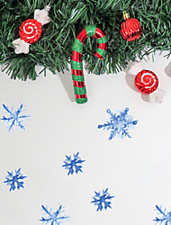 cheap -Merry Christmas Watercolor PVC Wall Sticker Blue Ice Crystal Snowflake Self-Adhesive Waterproof Wallpaper for Children's Room