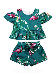 cheap -Baby Girls' Casual Tropical Leaf / Flamingos Print Pleated / Print Short Sleeve Long Clothing Set Green