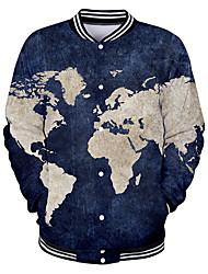 abordables -Homme Quotidien Basique Printemps / Automne hiver Normal Veste, Géométrique Mao Manches Longues Polyester Bleu