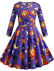 cheap -Audrey Hepburn Dress Party Costume Kid's Girls' Retro Vintage Halloween Halloween Festival / Holiday Polyster Purple Carnival Costumes