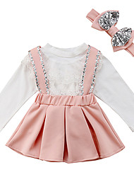 cheap -Baby Girls' Casual / Active Solid Colored Bow / Pleated / Lace up Long Sleeve Long Clothing Set Blushing Pink