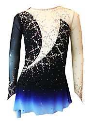 cheap -21Grams Figure Skating Dress Women's Girls' Ice Skating Dress Black / White Spandex Micro-elastic Training Skating Wear Classic Crystal / Rhinestone Long Sleeve Ice Skating Figure Skating