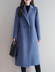 abordables -Femme Quotidien Longue Manteau, Couleur Pleine Revers en Pointe Manches Longues Polyester Noir / Bleu Roi / Rouge