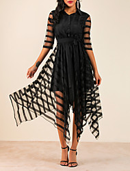 cheap -Women's Asymmetrical A Line Dress - Half Sleeve Solid Colored Shirt Collar Elegant Black M L XL XXL XXXL