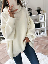cheap -Women's Pullover Sweater Knitted Solid Color Basic Casual Long Sleeve Loose Sweater Cardigans Turtleneck Fall Winter Blushing Pink Gray White / Holiday
