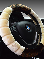 cheap -Car steering wheel set short plush winter four seasons universal put set leather hand seam women anti-slip absorb sweat long easy speed